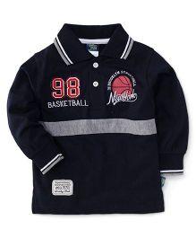 Cucu Fun Full Sleeves Tee Printed Polo T-Shirt - Black