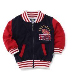 Cucu Fun Full Sleeves Sweat Jacket - Red Navy Blue