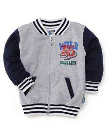 Cucu Fun Full Sleeves Printed Sweat Jacket - Grey Navy