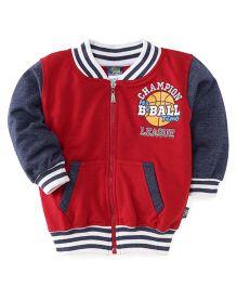 Cucu Fun Full Sleeves Printed Sweat Jacket - Red Grey