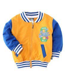 Cucu Fun Full Sleeves Printed Sweat Jacket - Yellow Blue