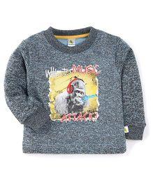 Cucumber Full Sleeves Sweat T-Shirt Wild Music Print - Grey