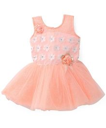 Bluebell Sleeveless Frock Floral Bodice - Peach