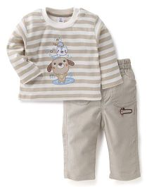 ToffyHouse Full Sleeves Stripe T-Shirt  And Pant Set Animal Embroidery - Light Grey