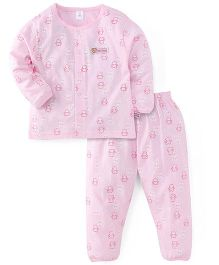 ToffyHouse Full Sleeves Night Suit Allover Teddy Print - Light Pink