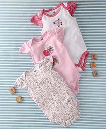 Hudson Baby Cat Print Set Of Onesie - Pink & White