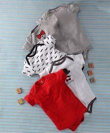 Hudson Baby Gentleman Print 5 Piece Oneise Set  - Grey & Red