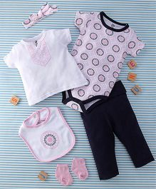 Yoga Sprouts 6-Piece Baby Suit Set - White Pink & Navy Blue