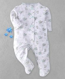 Little Me Owl Print Footed Romper - White