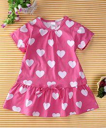 Yiyi Garden Heart Print Dress - Pink