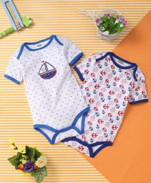 Kids Pie Star & Anchor Print Set Of 2 Onesies - White & Blue
