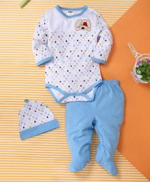 Kids Pie Onesie & Footed Pant Set With Cap - White & Blue