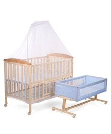 Mee Mee Baby Cot With Mosquito Net And Swing - Blue