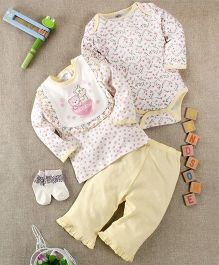 Kids Pie Onesie Top & Pant Set With Bib & Socks - White & Yellow