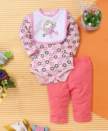 Baby Babala Heart Print Onesie Set - Pink & Multicolour