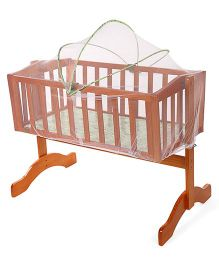 Mee Mee Wooden Cradle with Mosquito Net - Green