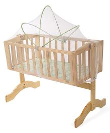 Mee Mee Wooden Cradle With Mosquito Net - Light Green