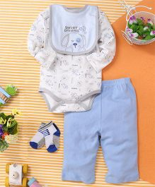 Kids Pie Onesie & Pant Set With Bib & Socks - White & Blue