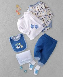 Kids Pie Jungle Pals Multi-Piece Onesie Set - White & Blue