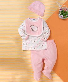 Kids Pie Heart Print Baby Set with Cap - White & Pink