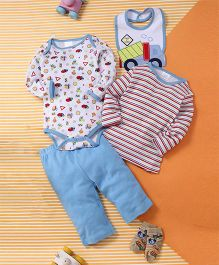 Kids Pie Stripes & Prints Onesie Set - White & Blue