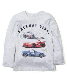 Fox Baby Full Sleeves T-Shirt Raceway Print - Light Grey