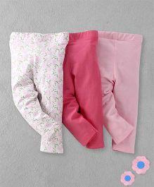 Luvable Friends Set Of 3 Leggings - White & Pink