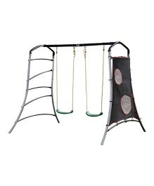 Plum Eris Swing Set With Climbing And Target Wall - Green Grey