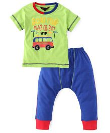 Valentine Half Sleeves T-Shirt And Bottoms Bus Print - Green Blue