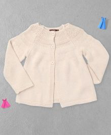 Boutchou Full Sleeves Baby Sweater - Cream