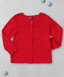 Boutchou Full Sleeves Sweater With Front Buttons - Red