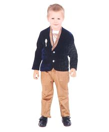 Kreesh 3 Piece Party Suit With Brooch - Navy & Brown