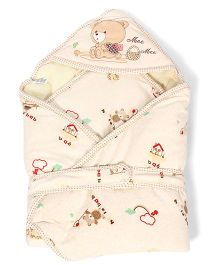 Mee Mee Hello Baby Print Hooded Wrapper - Cream