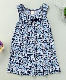 Mabaojd Printed Dress With Bow - Blue