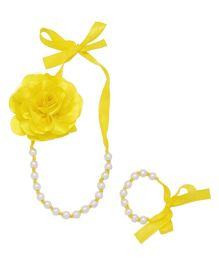 Miss Diva Flower Necklace And Bracelet Set With Ribbon - Yellow