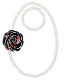 Miss Diva Fluffy Printed Flower Necklace And Bracelet Set - Black