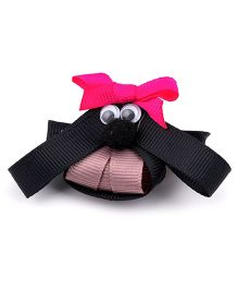 Ribbon Candy Puppy Alligator Pin - Black Pink