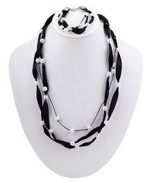 Ribbon Candy Ribbon & Pearl Necklace Bracelet Set - Black