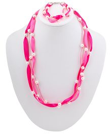 Ribbon Candy Ribbon & Pearl Necklace Bracelet Set - Pink