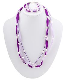 Ribbon Candy Ribbon & Pearl Necklace Bracelet Set - Purple