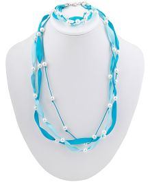 Ribbon Candy Ribbon & Pearl Necklace Bracelet Set - Blue