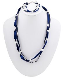 Ribbon Candy Ribbon & Pearl Necklace Bracelet Set - Navy Blue