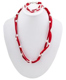 Ribbon Candy Ribbon & Pearl Necklace Bracelet Set - Red