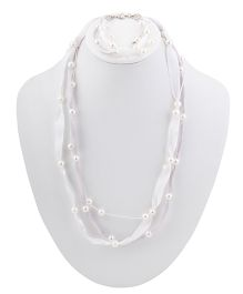 Ribbon Candy Ribbon & Pearl Necklace Bracelet Set - White