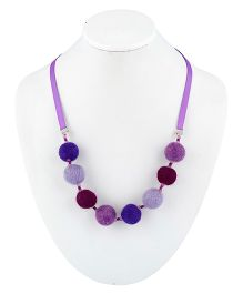 Ribbon Candy Felt Balls & Ribbon Necklace - Purple