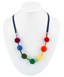 Ribbon Candy Felt Balls & Ribbon Necklace - Rainbow