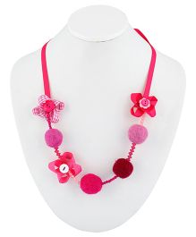 Ribbon Candy Felt Ribbon Buttons & Beads Necklace - Pink