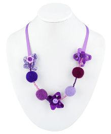 Ribbon Candy Felt Ribbon Buttons & Beads Necklace - Purple