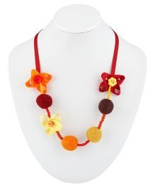 Ribbon Candy Felt Ribbon Buttons & Beads Necklace - Orange