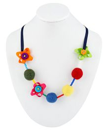 Ribbon Candy Felt Ribbon Buttons & Beads Necklace - Rainbow